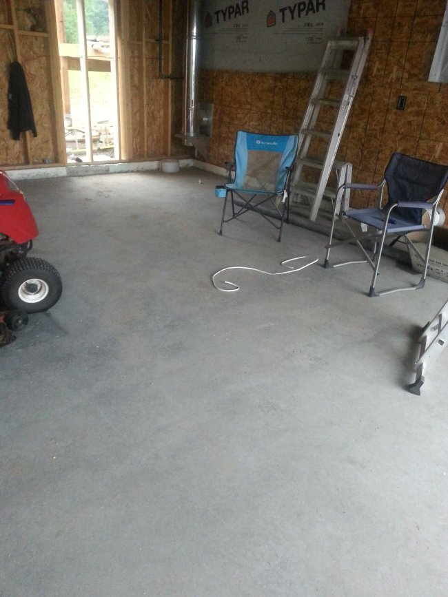 poured concrete garage floor