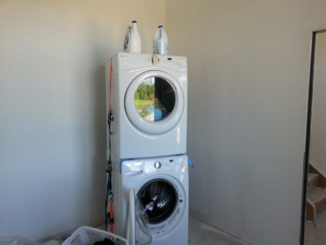 stacking washer dryer mudroom