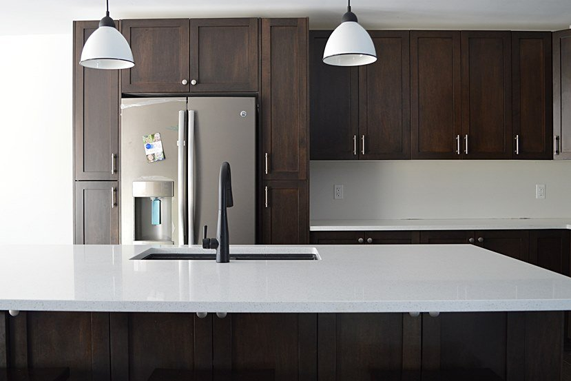 dark stained shaker kitchen cabinets