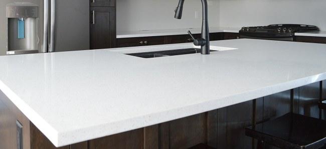 White quartz counters