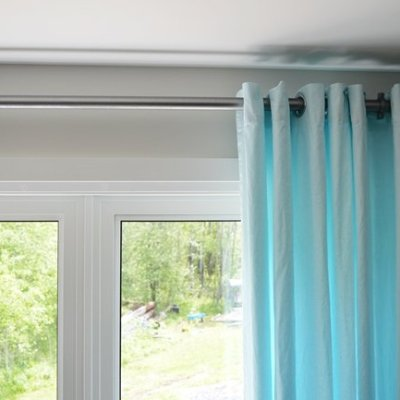 Aqua Blue IKEA MERETE Curtain Hack