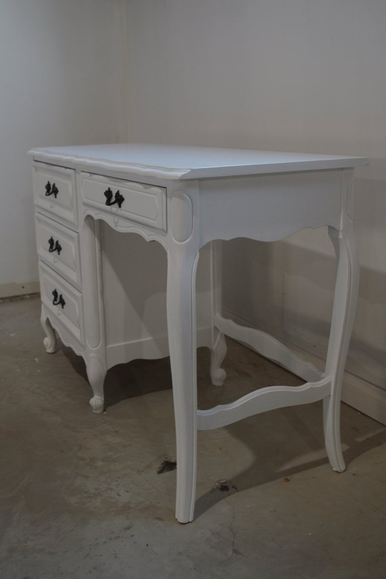 Desk makeover using general finishes snow white milk paint