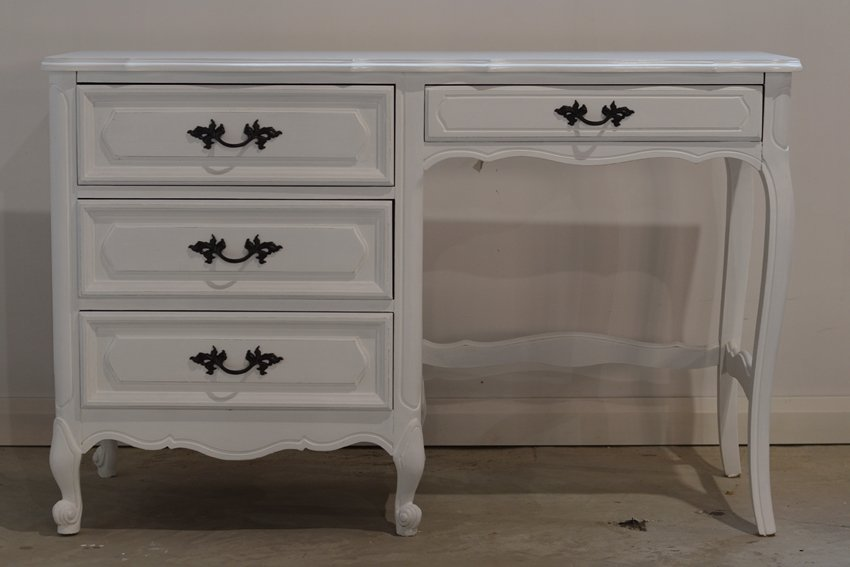 French provincial desk makeover using general finishes snow white milk paint