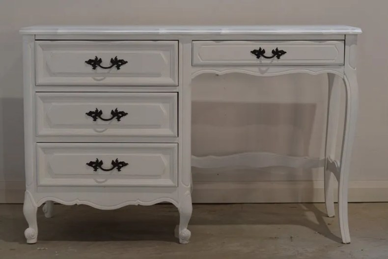white french provincial desk makeover using general finishes snow white milk paint