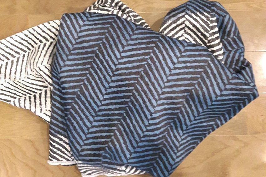navy blue herringbone fabric for a headboard makeover