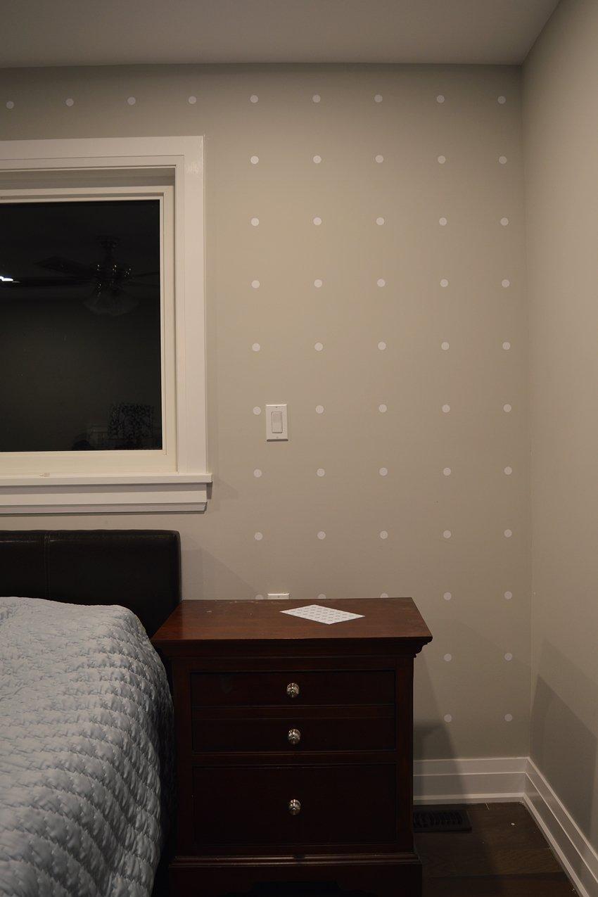 white polka dot focal wall
