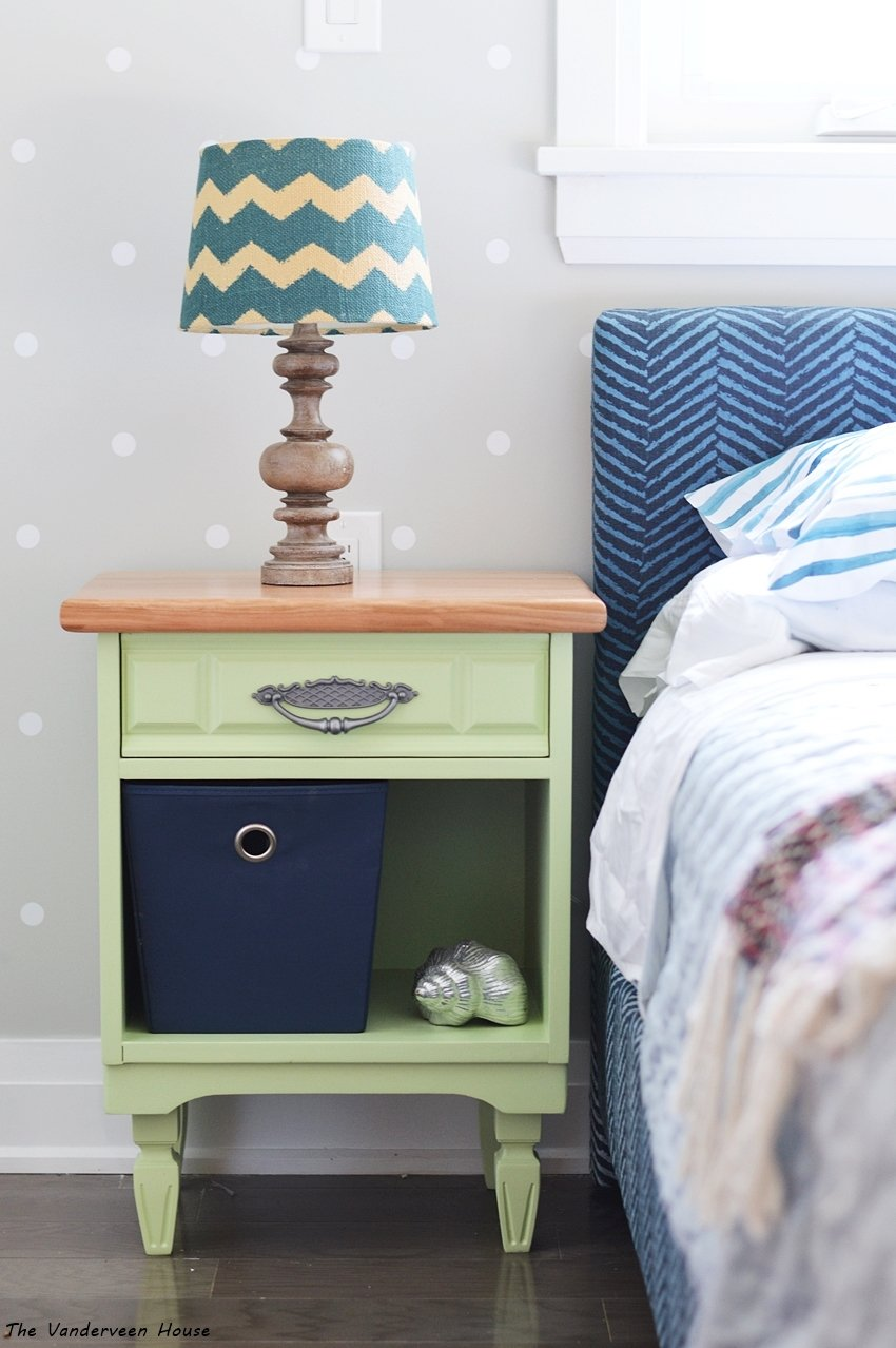 bedside table makeover using general finishes lime green milk paint