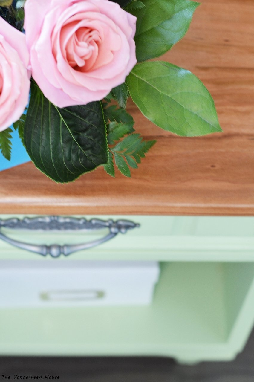 green bedside table makeover