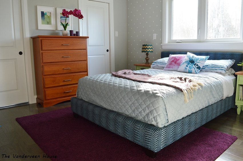 blue and green master bedroom makeover