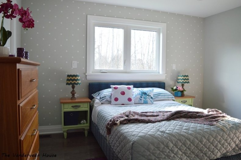 master bedroom makeover with polka dot accent wall
