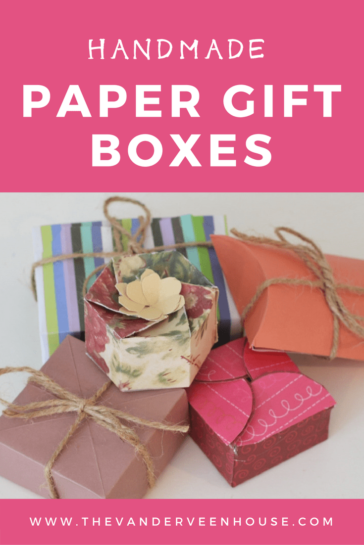 Handmade paper gift box template. Origami paper box. Easy DIY paper gift boxes
