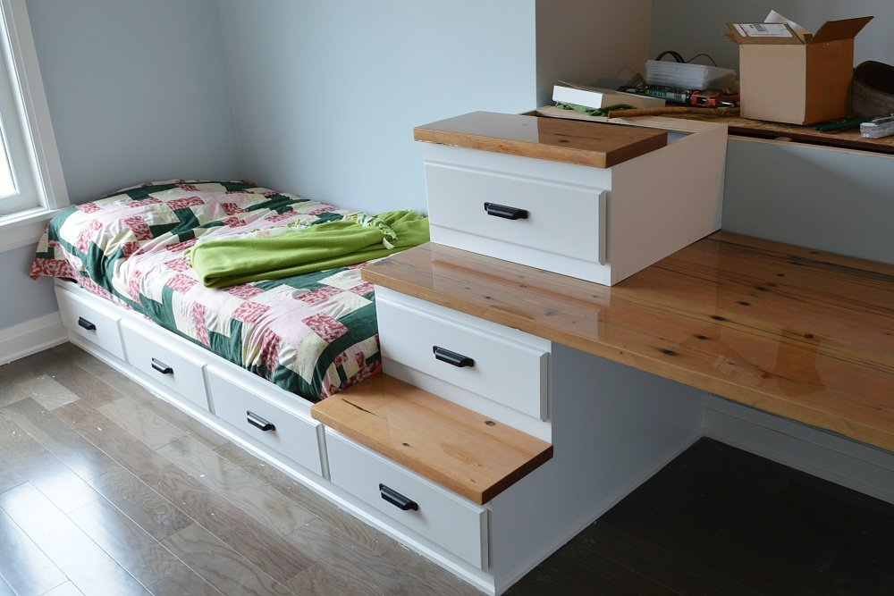 loft bed with reclaimed wood desk