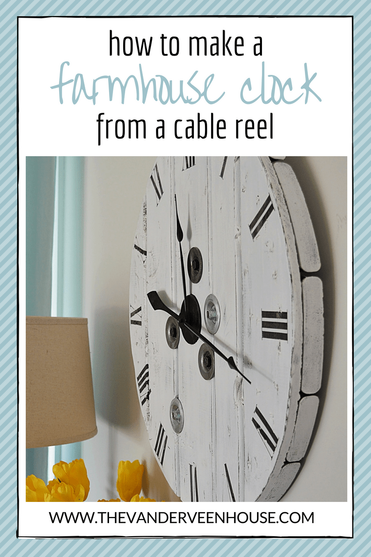 How to make a whitewashed farmhouse clock from a wood cable reel