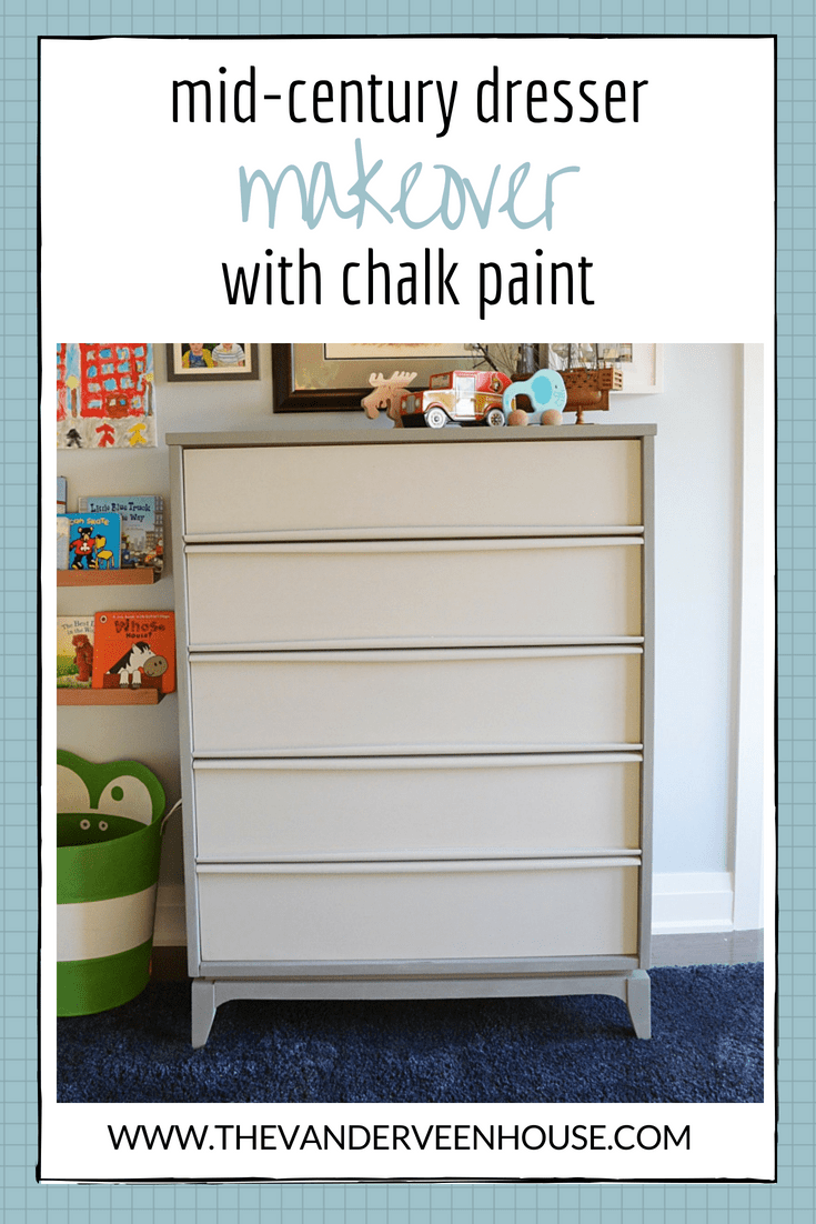 Mid century modern dresser makeover using two shades of country chic chalk paint