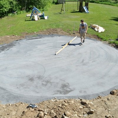 Preparing the base for an above ground pool