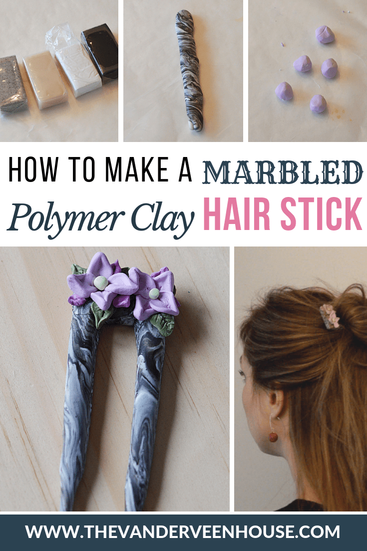 How to make a marbled polymer clay hair stick, and other beginner tips for working with polymer clay