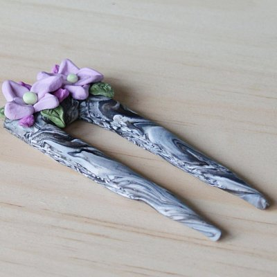 How to make a marbled polymer clay hair stick