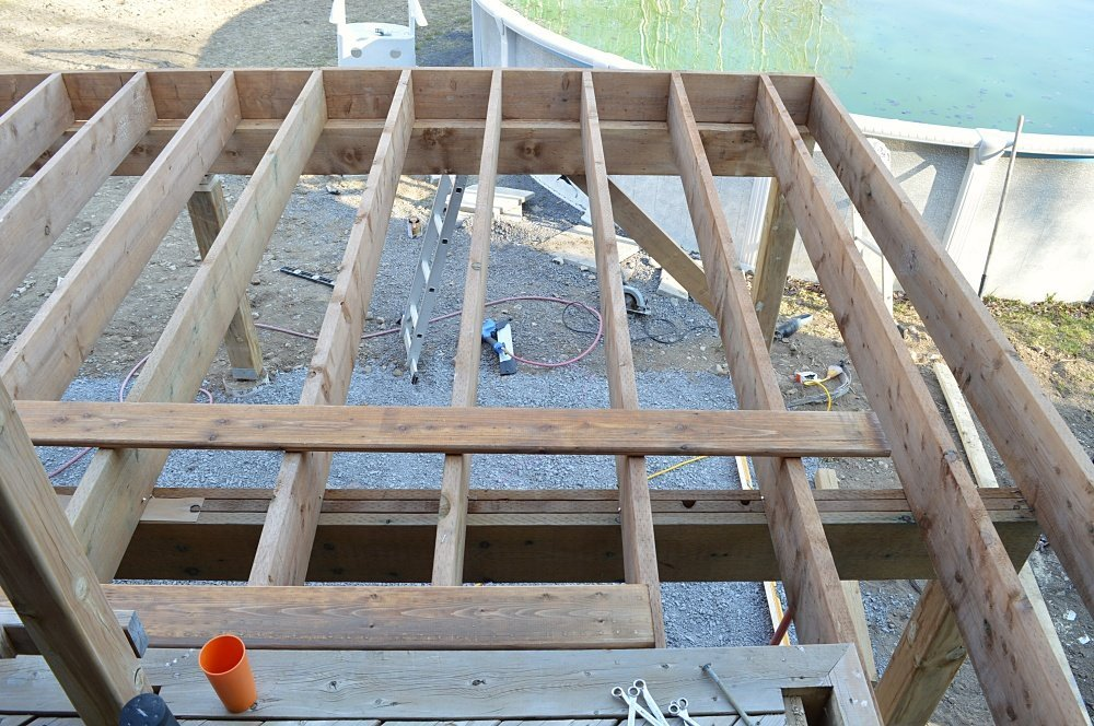 Deck framing around an above ground pool