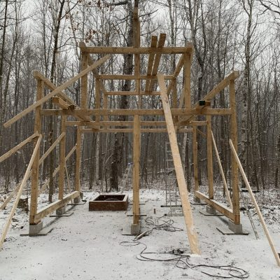 Cabin phase 2: Post and beam cabin construction