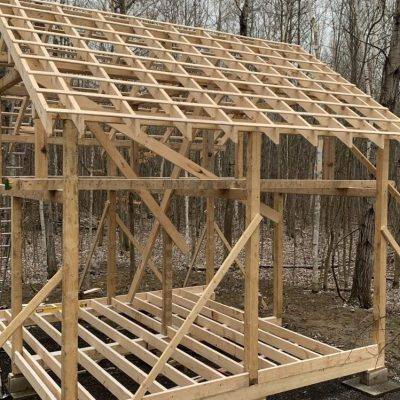Cabin phase 2: Roof rafters and floor joists