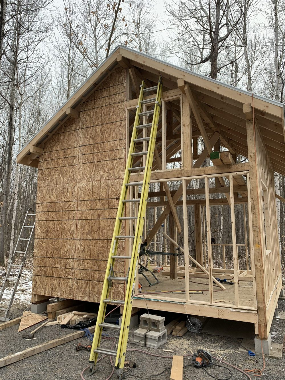 exterior framing of a tiny cabin