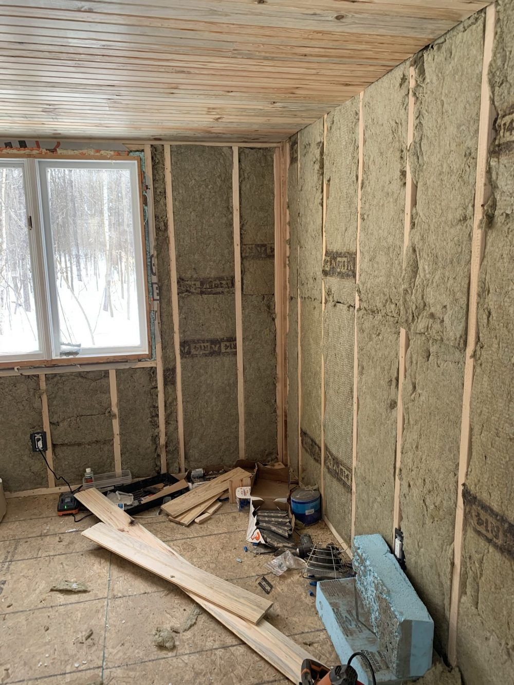 cabin build with insulation