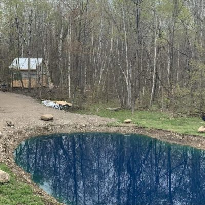 Cabin interior walls, exterior siding, and a very blue pond
