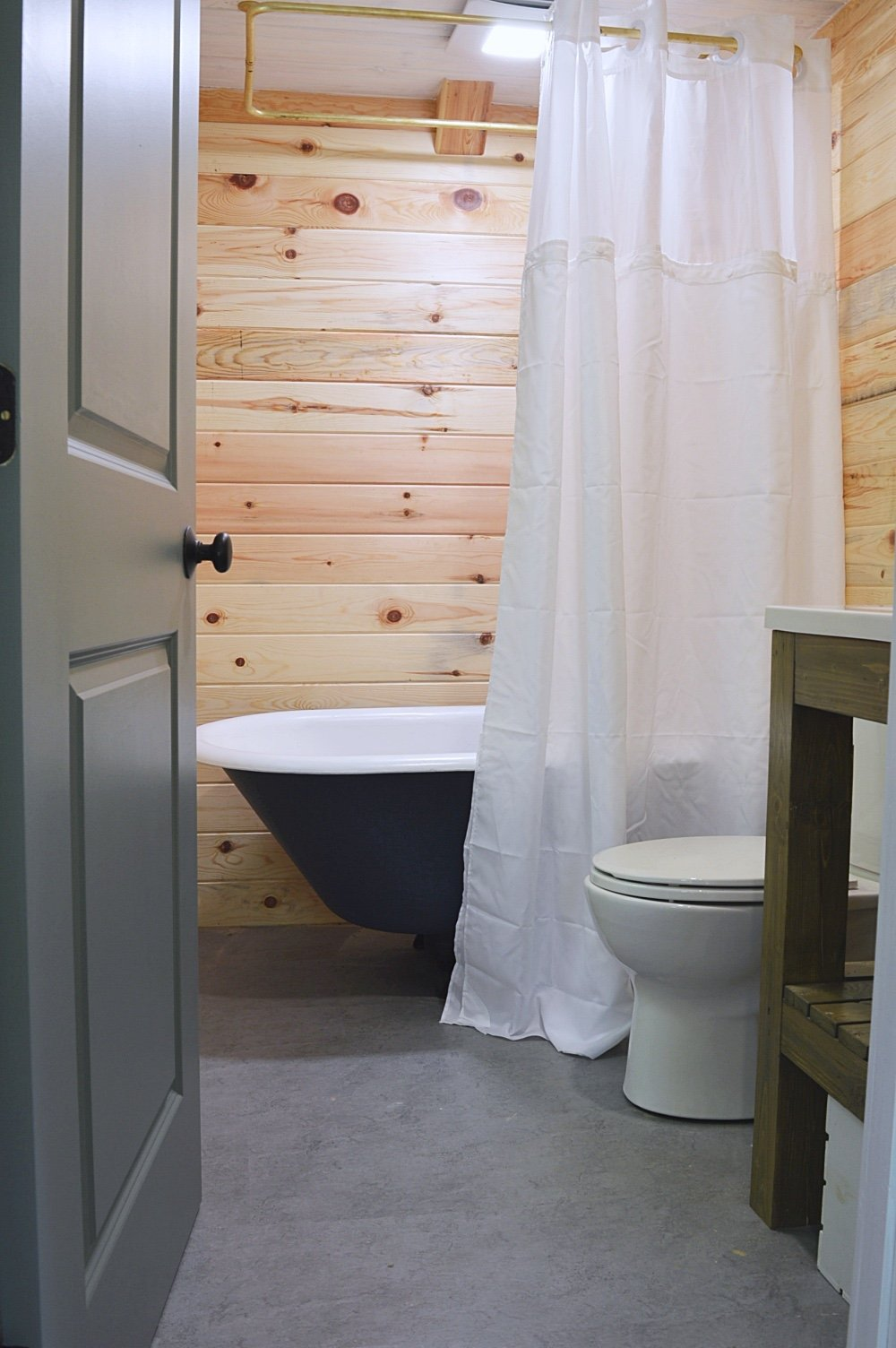 bathroom in a cabin in the woods