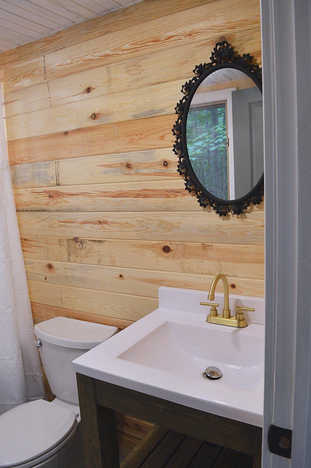 cabin bathroom in the woods
