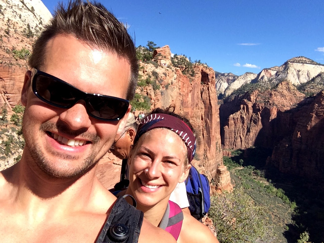 Joe & Emily hiking up the crazy Angel's landing in Zion National park