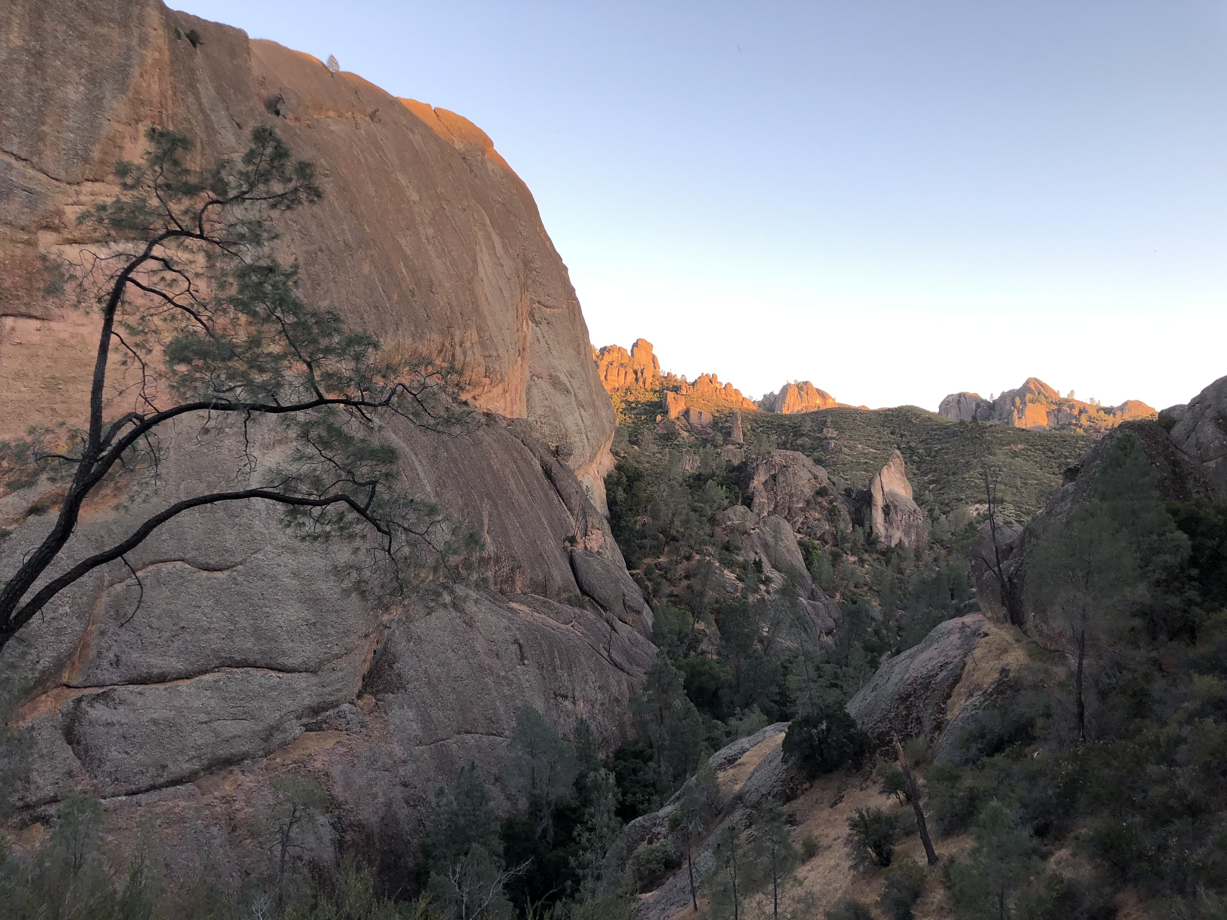 The sun going down in Pinnacles National Park