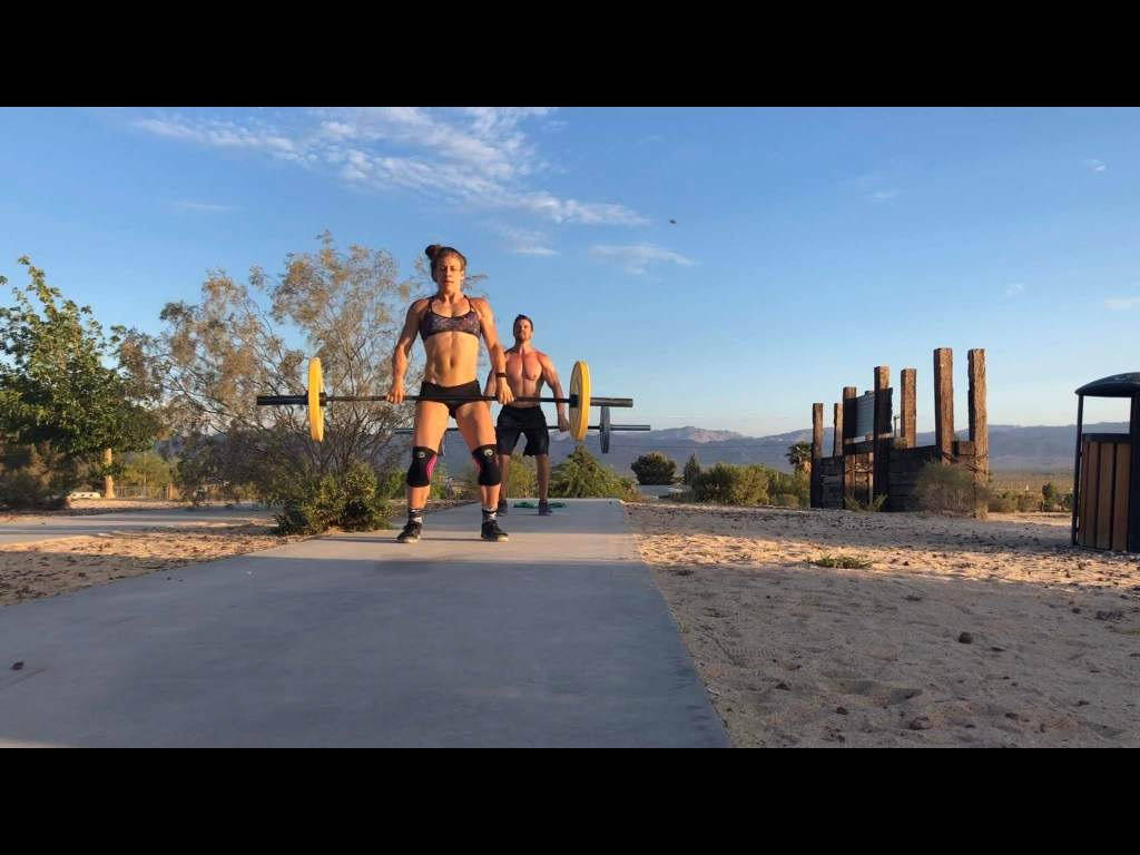 Hang cleans and burpees in Joshual Tree