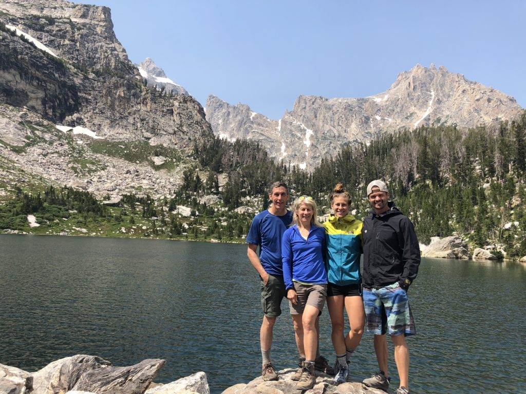 Chuck, Sue, Emily, and Joe at Amphitheater Lake in the Grand Tetons