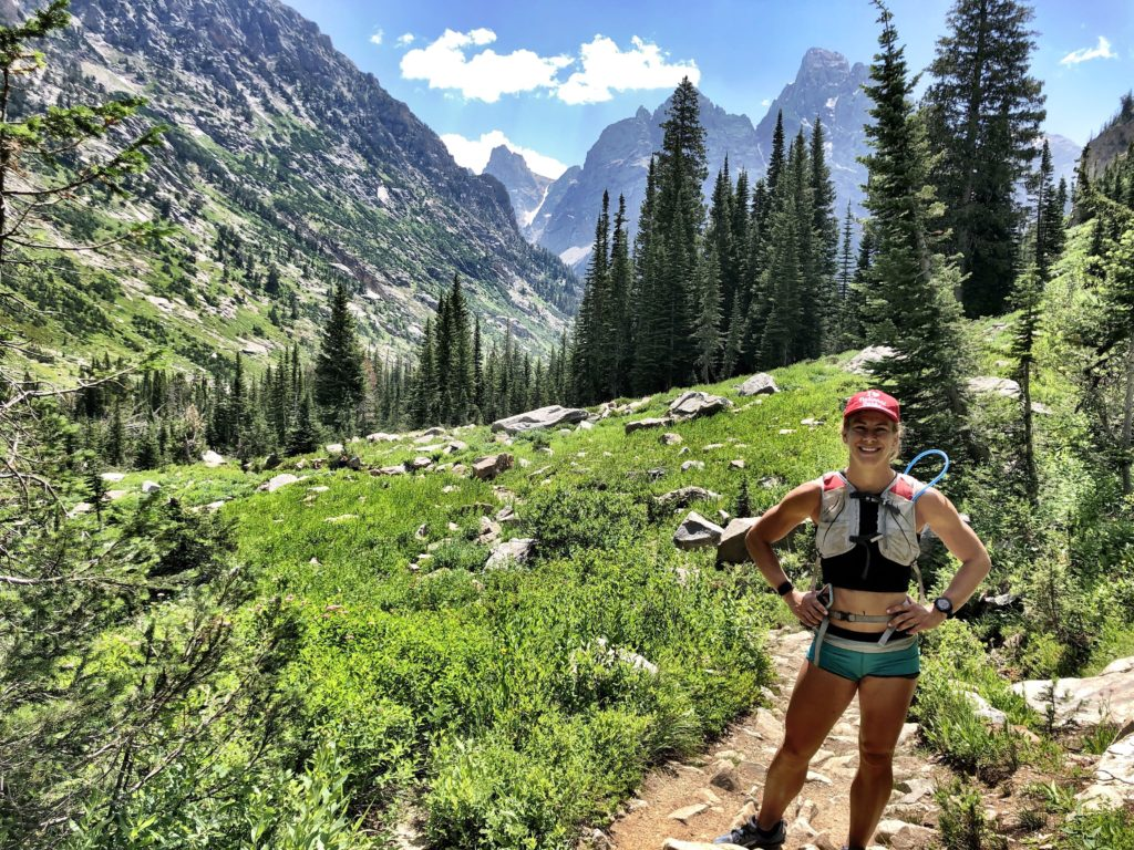 Emily hiking down from Lake Solitude at Grand Tetons