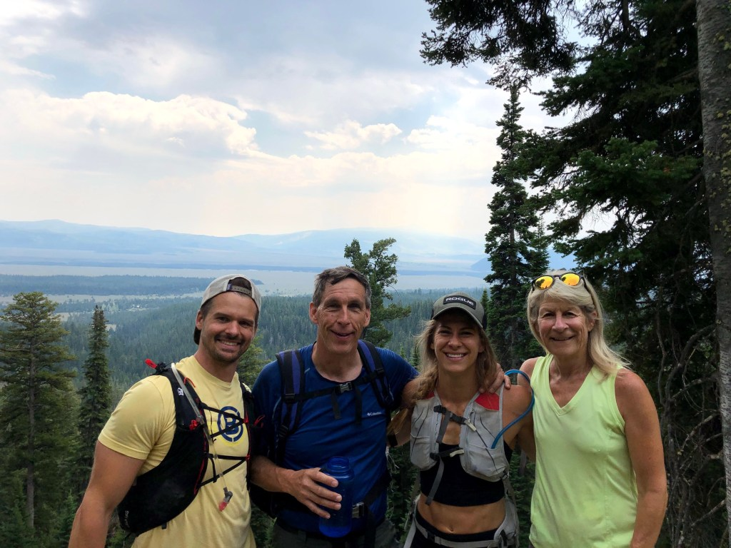 Joe, Chuck, Emily, and Sue hiking in Grand Tetons