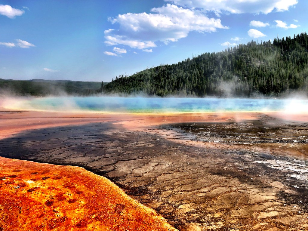 Amazing Yellowstone Pools blue yellow and red