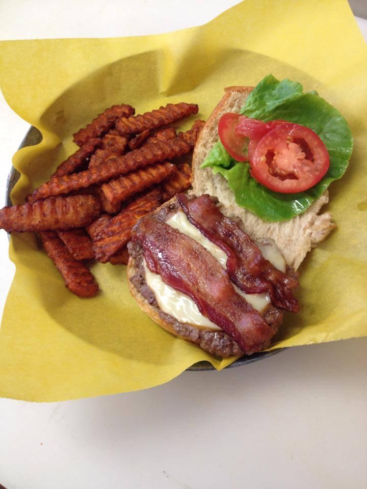 Black Hills Burger with sweet potato fries