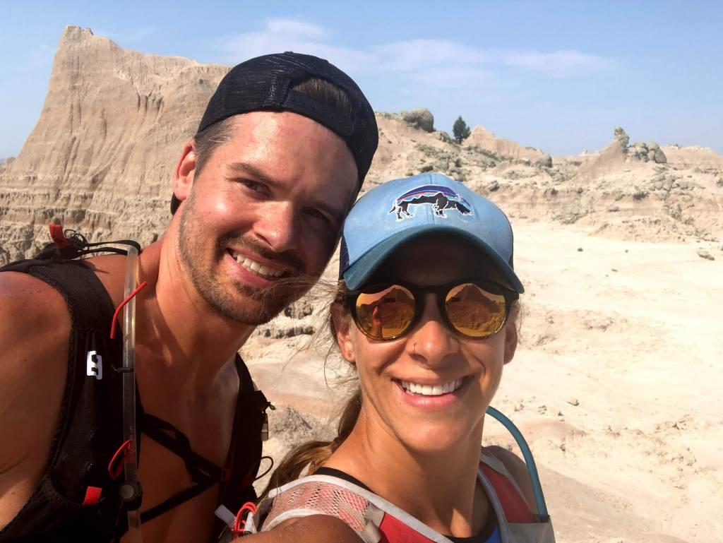 Joe and Emily Trail Running in Badlands National Park on a hot day