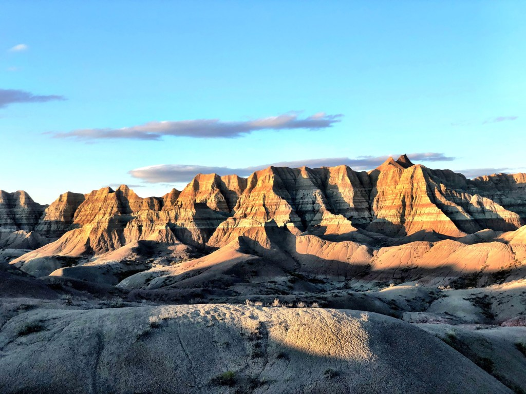 Sun set in Badlands National Park van life