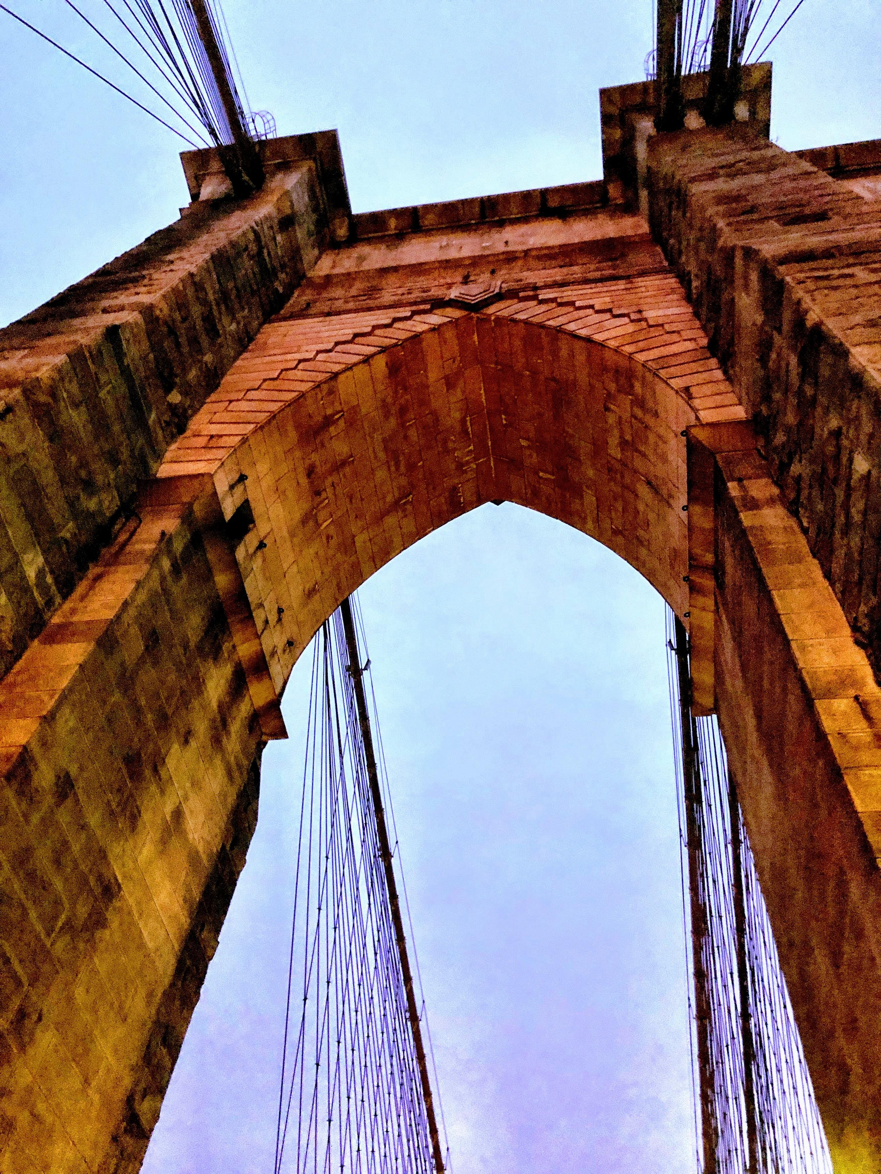Brooklyn Bridge arch looking up