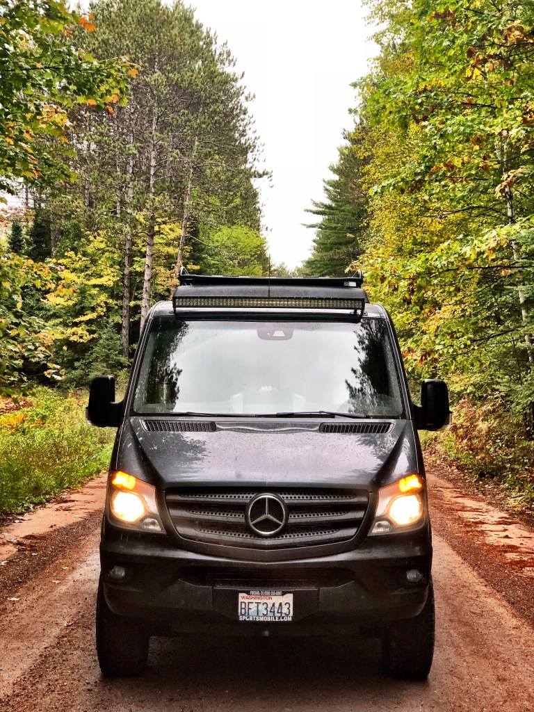 Driving our Sportsmobile sprinter van the backroad to Hayward WI