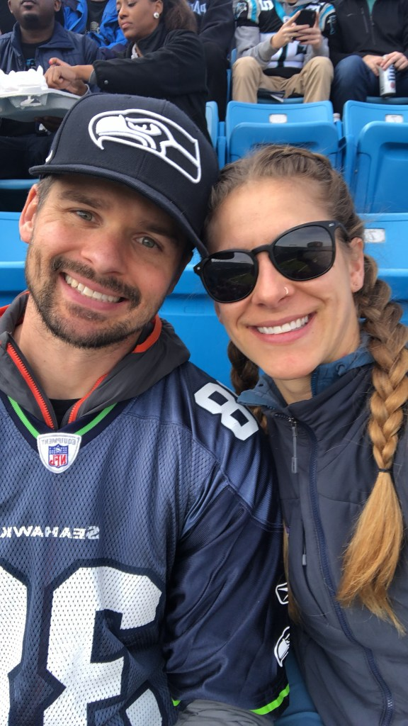 Joe and Emily at Seahawks vs Panthers in Charlotte