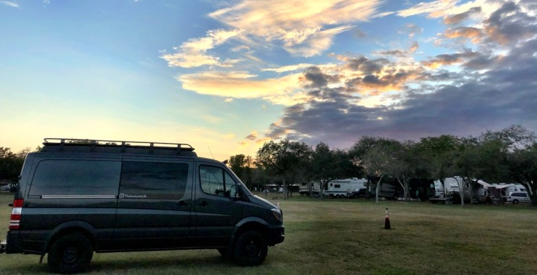 Sprinter van and Sunset at Larry and Penny campground