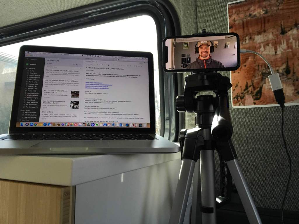 Joe's setup for recording a podcast from the road in the Sprinter Van