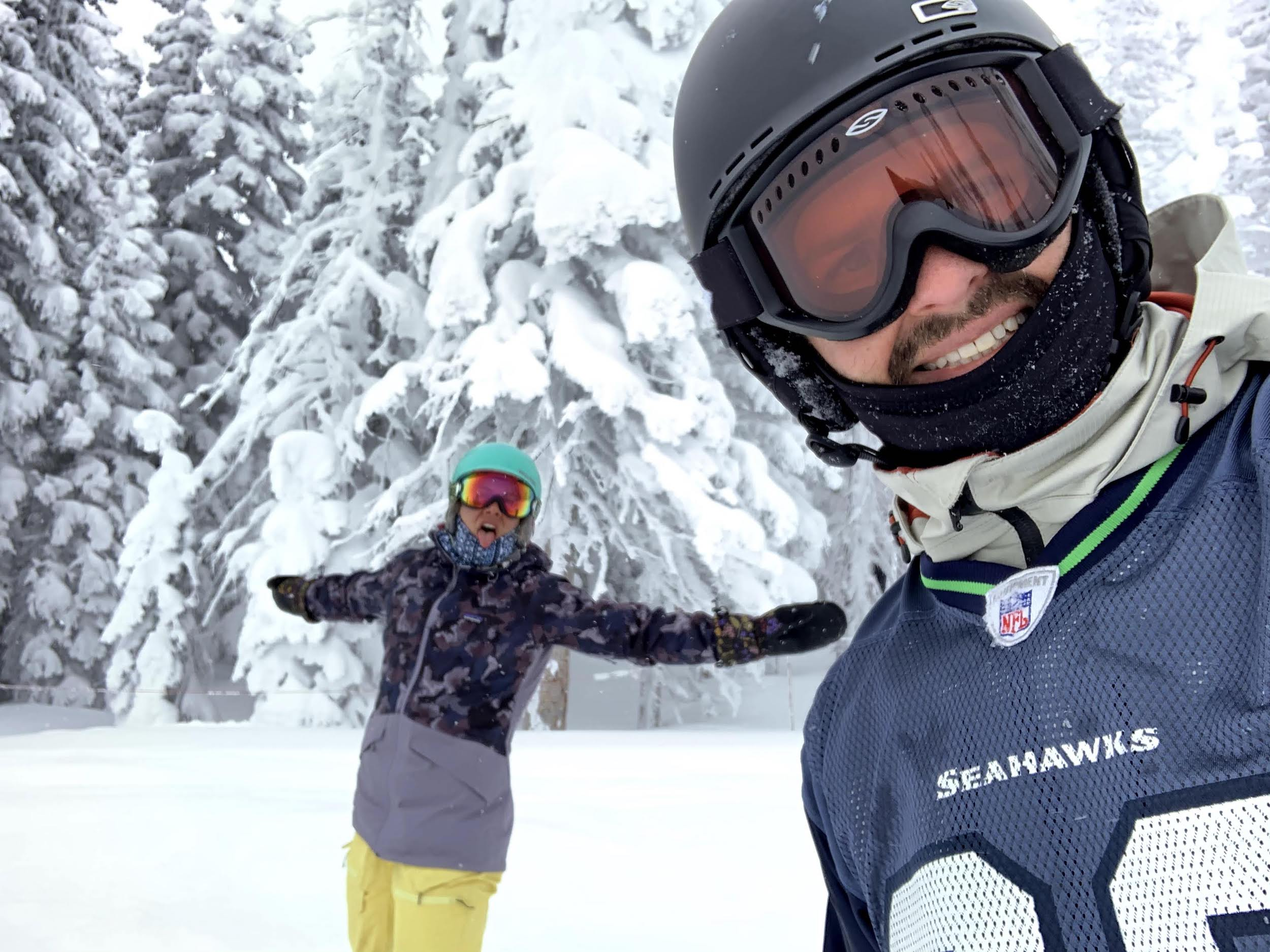 Emily and Joe snowboarding at Steamboat Springs