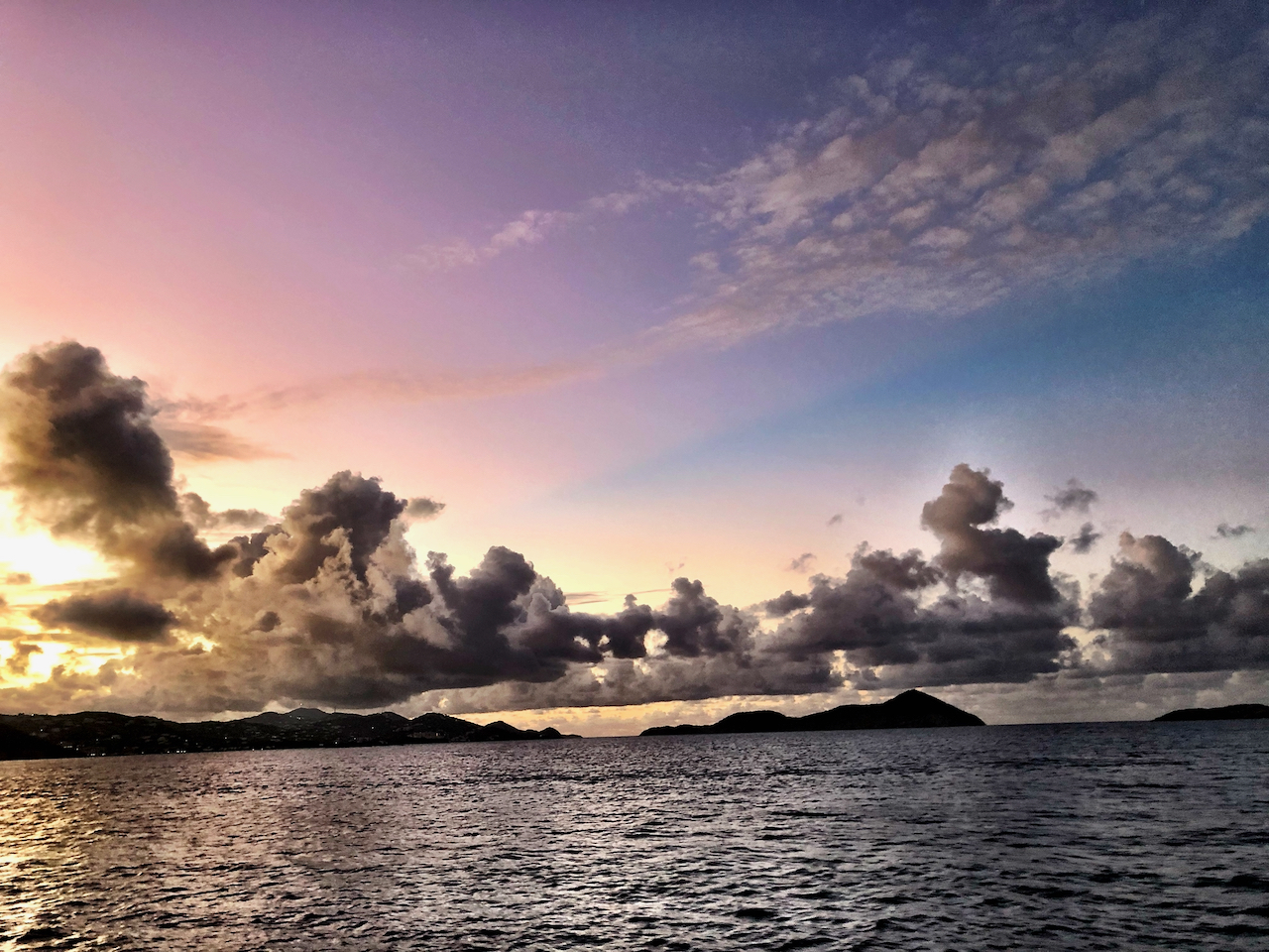 Amazing Sunset between St John and St Thomas of US Virgin Islands