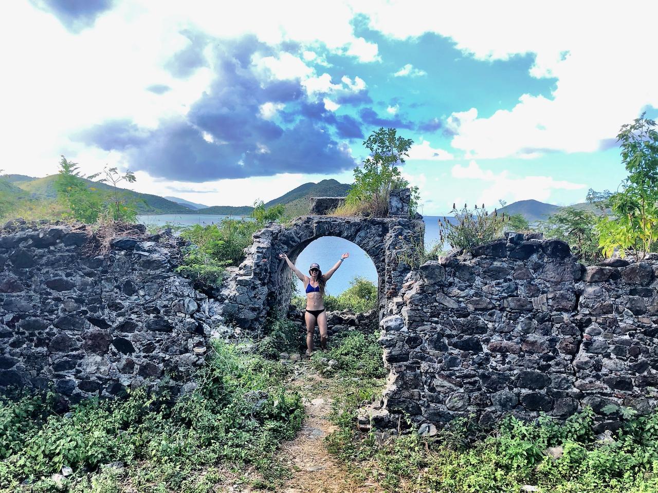 Ruins near Waterlemon Bay in US Virgin Islands National Park