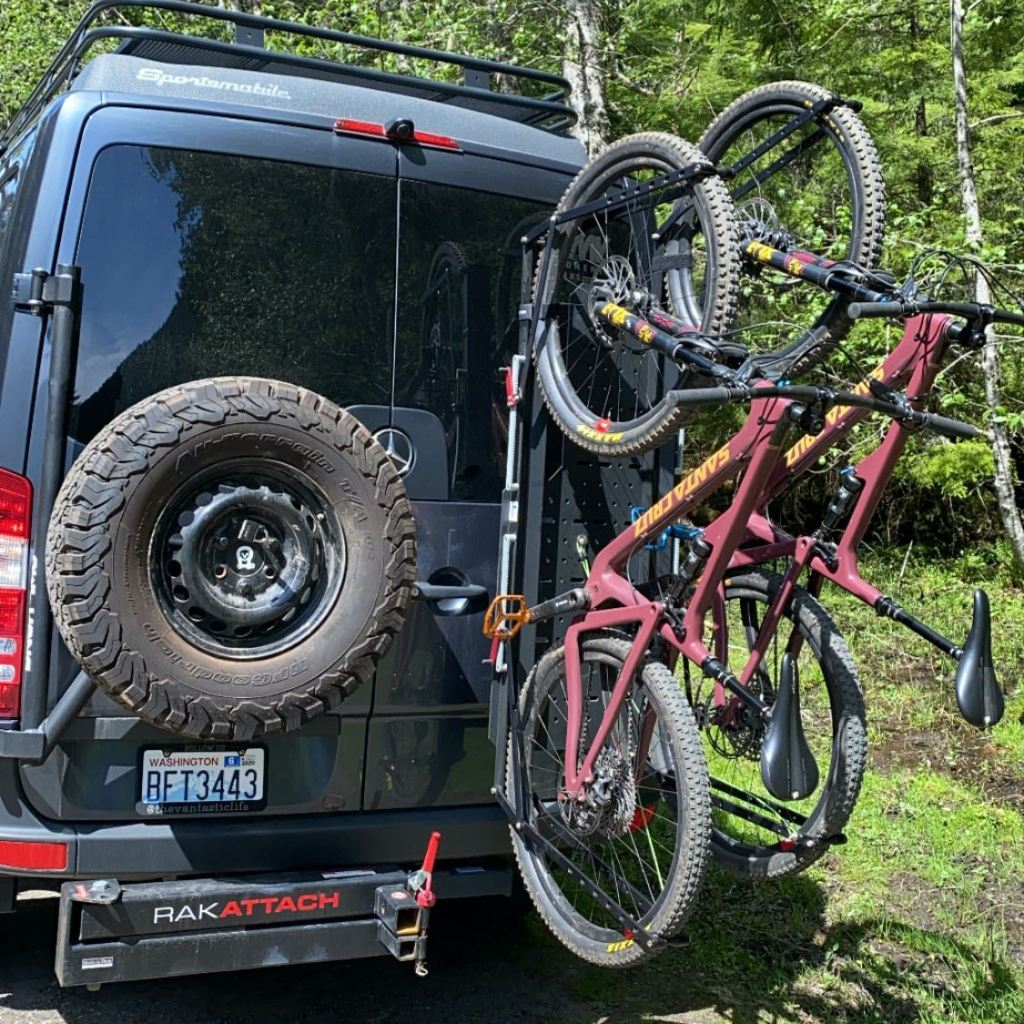 Owl Vans Sherpa Rack and Tire Carrier with 1Up bike trays and Santa Cruz Bikes