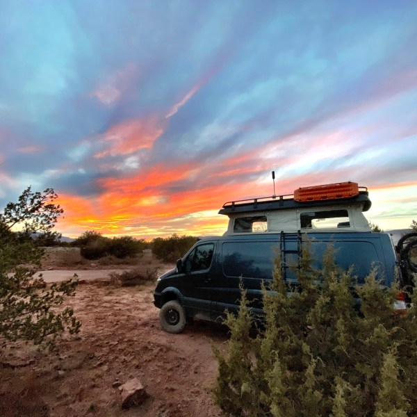 Campsite in Sedona with WeBoost up and sunset