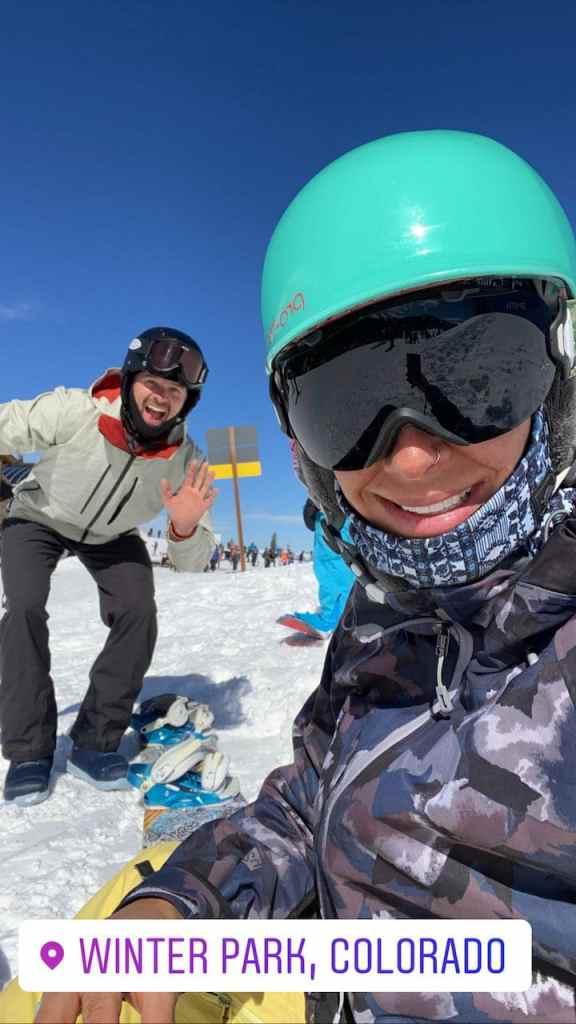 Joe and Emily snowboarding at Winter Park